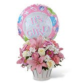 Newborn Baby Girl Flower And Balloon