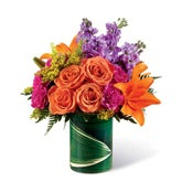Summer Tropics Orange Rose Bouquet