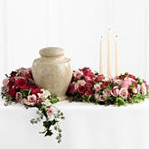 Urn Flowers Candle Arrangement