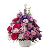 Pastel Sympathy Flowers Basket