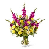 Sunshine and Purple Loving Sympathy Flowers