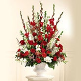 Traditional Red Rose Altar Arrangement