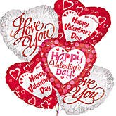 Valentine's Day Mylar Balloon Bouquet