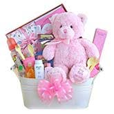 My First Teddy Pink Gift Basket