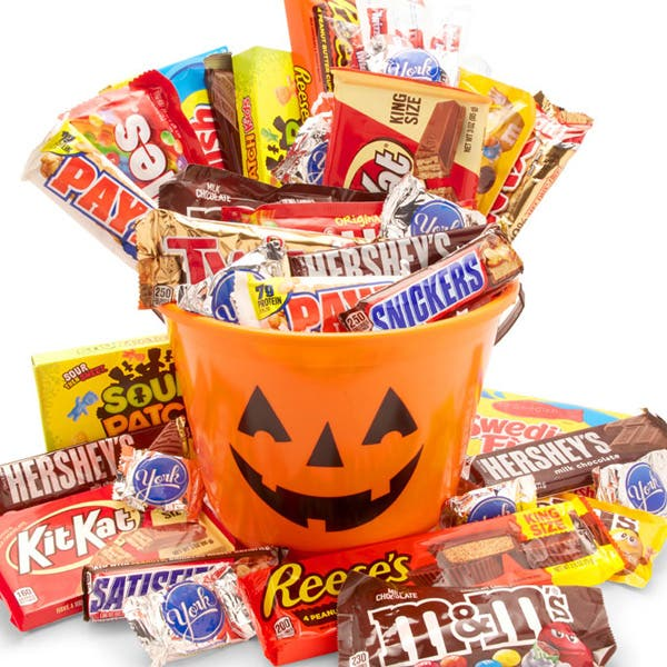Happy Halloween Candy Pumpkin Bucket - Large