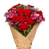 Rustic Ruby Red Rose Bouquet