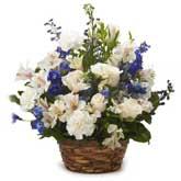 Rose And Delphinium Flower Basket