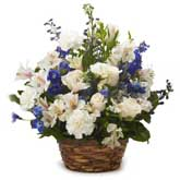 Rose And Delphinium Flower Basket
