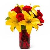 Cherry Red Mason Jar Bouquet