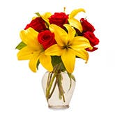 Yellow Lily Red Rose Bouquet