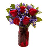 Red Rose Mason Jar Bouquet