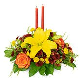 Yellow Lily Candle Centerpiece