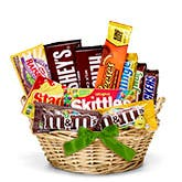 Chocolate Candy Gift Basket - Green Bow
