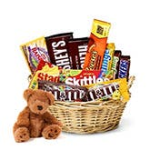 Teddy Bear And Chocolate Gift Basket