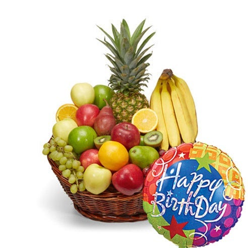 Happy Birthday Fruit Basket And Balloon