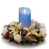 Blue Candle Flower Centerpiece