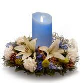 Blue Candle Flower Centerpiece