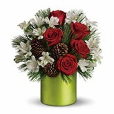 Christmas Cheer Pine Con Rose Bouquet