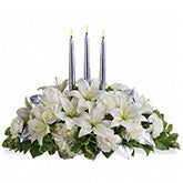 Silver Elegance White Lily Centerpiece