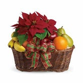 Fruit and Poinsettia Gift Basket