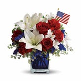 American Flag White Lily Patriotic Bouquet