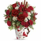 Cardinal Delight Christmas Flowers Bouquet