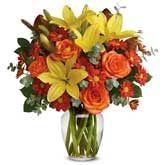 Orange Rose Yellow Lily Bouquet