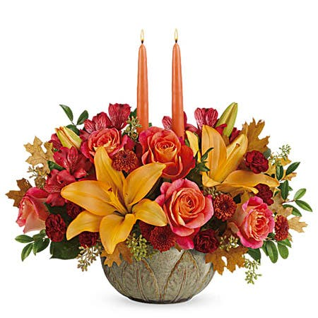 Golden Glow Fall Candle Centerpiece