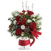 Snuggling Snowman Mug Bouquet