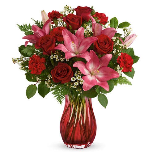 Swirling Passion Rose and Lily Bouquet