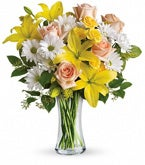 White Daisies and Lily Sunbeams Bouquet