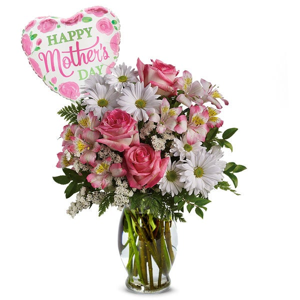 Pink Rose Bouquet + Mother's Day Mylar Balloon