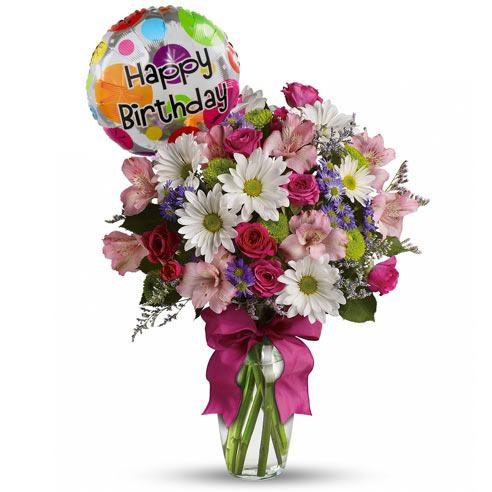 Pretty Please Bouquet with Birthday Balloon