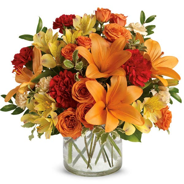 Fall Cottage Orange Lily Bouquet