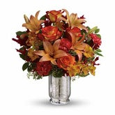 Falling Orange Rose and Lily Bouquet